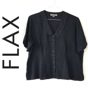 FLAX Black Linen Button Down Short Sleeve Shirt M